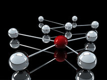 3d chrome red network. 3d red chrome ball network communication black Royalty Free Stock Images