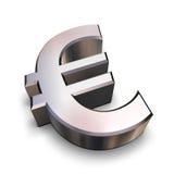 3D chroom Euro symbool Stock Foto