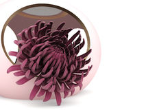 3d chrysanthemum. Flower in the pink bowl Stock Images