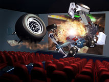 3D Cinema. Interior of a cinema. In the screen, a car race accident. 3D effects give the sensation that parts of the cars are coming out of the screen stock illustration