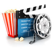 3d cinema clapper, film reel and popcorn. White background, 3d image vector illustration