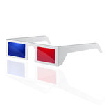3d cinema glasses. Illustration of 3d cinema glasses with red and blue colored lens, related to 3d movies and shows. vector file available Stock Image