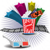3D cinema theme. Abstract colorful illustration with colorful stars, 3D cinema glasses, filmstrip, popcorn and cinema tickets. Cinema theme Stock Images