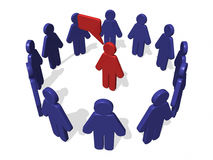 3D Circle Men dialog. 3D Image with circle men in blue and one men in reg dialog vector illustration