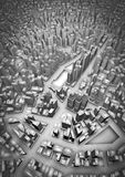 3D city. 3D render of large modern cityscape Stock Photography