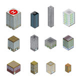3D City Building Icons. City buildings in 3d perspective with shadow. Fully scalable  illustration Royalty Free Stock Images