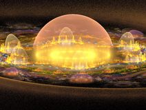 3D City Closeup. Anabstract 3d render of a futuristic city Royalty Free Stock Image