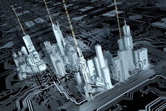 3D city on a computer chip. A 3D city on an integrated circuit and a printed circuit board Stock Photos