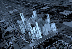 3D city computer chip. 3D city built on a computer chip Royalty Free Stock Image