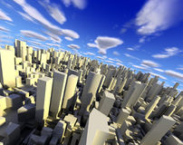 3d city landscape. 3d city with skyscraper,modern buildings and blue sky stock illustration