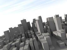 3D city model. Big grey 3d city model Stock Photos