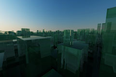 3d city skyline with green reflective building Royalty Free Stock Photos