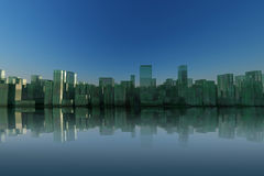 3d city skyline with green reflective building Stock Image