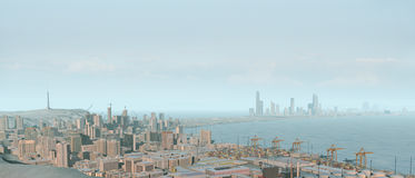 3D city skyline and harbor Stock Image