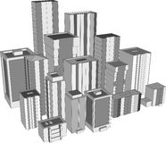 3D city skyscrapers. 3D illustration of city skyscrapers Royalty Free Stock Photos