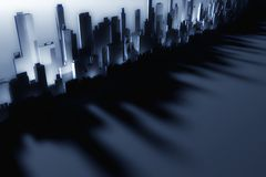 3d city skyscrapers. Industrial background Royalty Free Stock Images