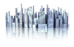 3d cityscape. With reflection on white surface - 3d render Stock Photography