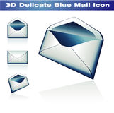 3D Classic Post Icon. Delicate Blue 3D Classic Post Icon Royalty Free Stock Photography