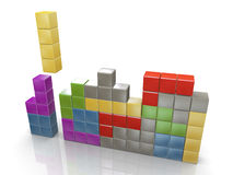 3d classic tetris game. 3d render of class tetris puzzle game Royalty Free Stock Images