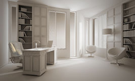 3d clay render of a luxury office interior design Royalty Free Stock Images