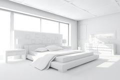 3d clay render of a modern bedroom Royalty Free Stock Photos