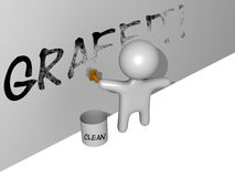 3d cleaning graffiti Zdjęcia Royalty Free