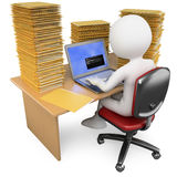 3D Clerk working in the office with much to do Stock Images
