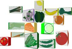 3d clipart of fruit and veggies Stock Photography