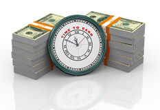 3d clock and dollar bills Royalty Free Stock Images