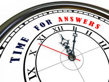 3d clock - time for answers. 3d illustration of closeup of clock with words time for answers Royalty Free Stock Photo