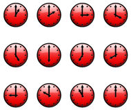 3D Clocks. Red 3D Clocks; 12 icons Stock Photos