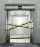 3d closed elevator with open door stock illustration