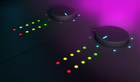 3d closeup of knobs, dj mixer equipment Stock Photo
