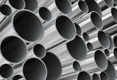 3d closeup of steel pipes Royalty Free Stock Image
