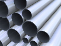 3d closeup of steel pipes Stock Photography