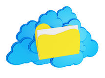 3d cloud computing icon with folder. On a white background Royalty Free Stock Photo