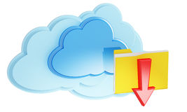 3d cloud computing icon with folder and arrow. On a white background Stock Photo