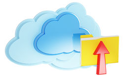 3d cloud computing icon with folder and arrow. On a white background Stock Photography