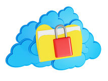 3d cloud computing security concept. On a white background Stock Photo