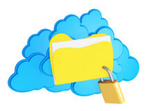 3d cloud computing security concept. On a white background Stock Image