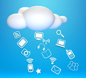 3D cloud and concept communicating. On blue sky Stock Photography