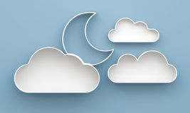3D Cloud and Moon shelves and shelf design. On background Stock Photography