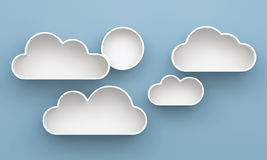 3D Cloud shelves and shelf design Stock Photo
