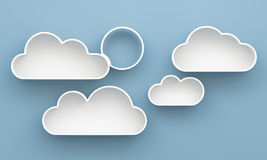 3D Cloud shelves and shelf design. On background Royalty Free Stock Photography