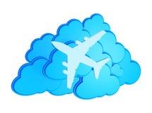 3d clouds med silhouetten av stråltrafikflygplansymbolen stock illustrationer