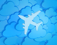 3d clouds with silhouette of jet airliner Royalty Free Stock Images