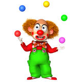 3d clown with balls. 3 d cartoon cute clown with balls Royalty Free Stock Photos