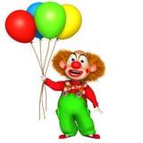 3d clown with baloons. 3 d cartoon cute clown Stock Photo