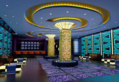3D club hall, corridor Royalty Free Stock Photos