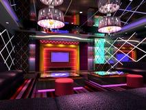 3D club room, hall. Modern design club of room, hall. 3D render royalty free illustration